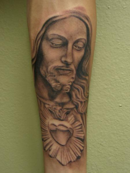 Tattoos - jesus and sacred heart by mario sanchez - 59750