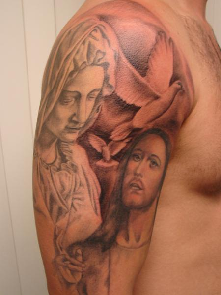 Tattoos - black and grey religious piece by Mario Sanchezy - 62010