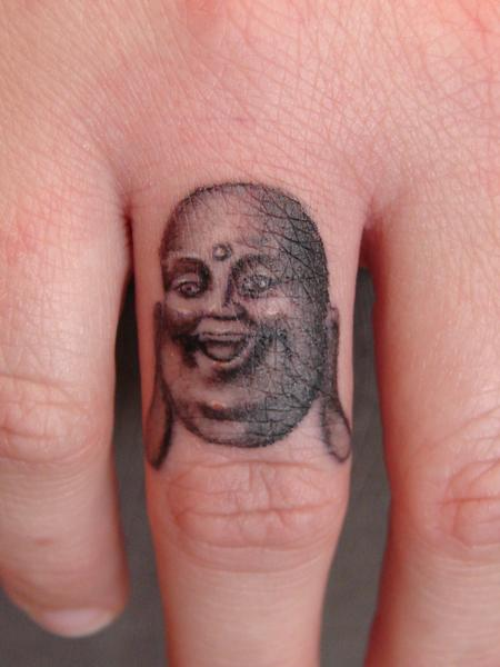 Tattoos - Laughing Buddha Portrait on Finger - 65942