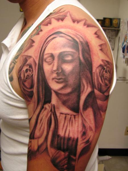 Tattoos - Religious Sleeve in Progress, by Mario Sanchez - 67566