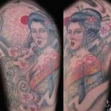 Koi and Geisha Tattoo Design Thumbnail