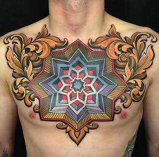 Geometric Mandala on Chest Tattoo Design Thumbnail