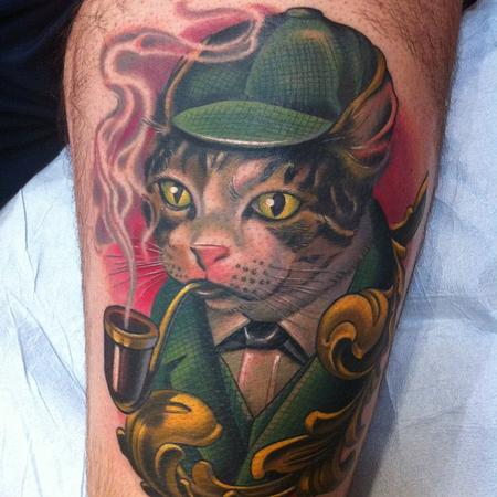 Russ Abbott - Sherlock Cat Tattoo