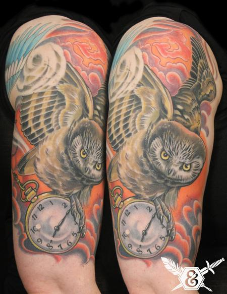 Tattoos - Owl with pocket watch - 70079
