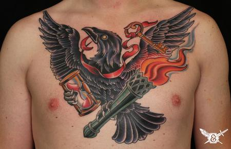 Tattoos - Raven, torch, hourglass, and key - 70085