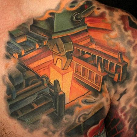 Machine Chest Tattoo Design Thumbnail