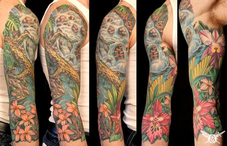 Tattoos - Waterfall/ flowers - 70095