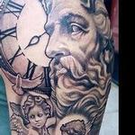 Black and Grey Clock and Statues Tattoo Design Thumbnail