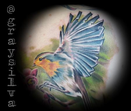 Robin in flight Tattoo Design Thumbnail