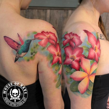 Hummingbird and flowers Tattoo Design Thumbnail