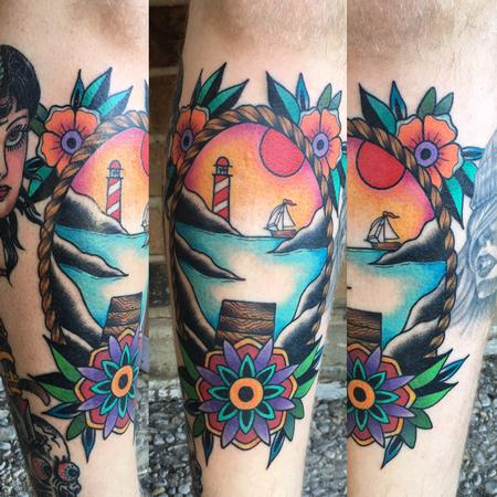 Vibrant Scenic Traditional  Tattoo Design by Cody Hennings