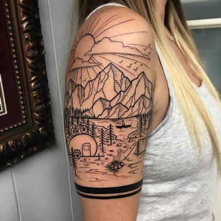 David Mushaney - Blackwork Landscape Half-Sleeve by David Mushaney