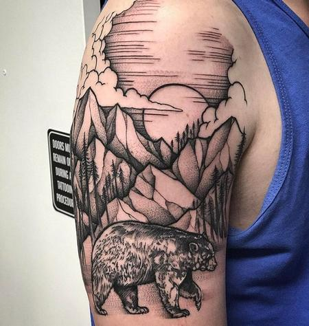 David Mushaney - Blackwork Landscape Tattoo by David Mushaney