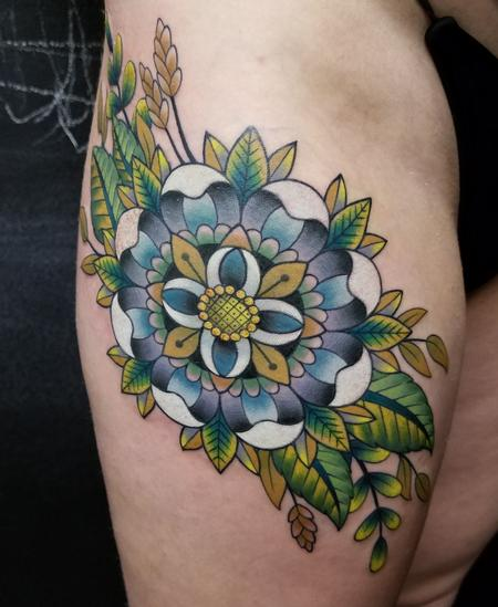 Neo Traditional Floral Tattoo Design by James Corgill