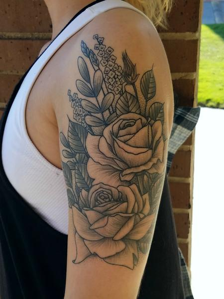 Floral Bouquet Tattoo Design by James Corgill
