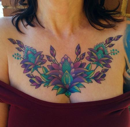 Color Mendhi Chestpiece Tattoo Thumbnail