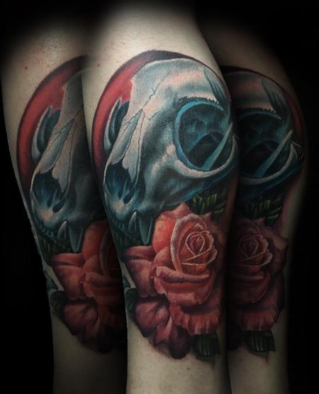 Tattoos - Realistic Cat Skull and Rose - 122042