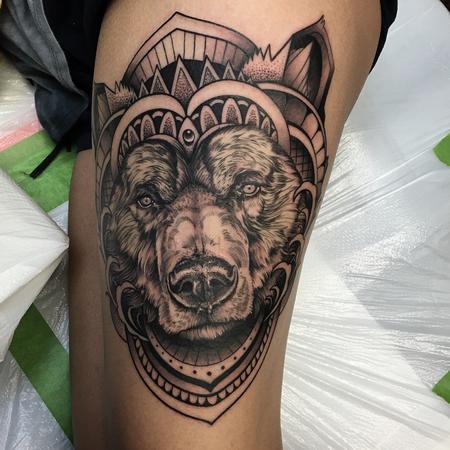 Abstract Geometric Bear Tattoo by David Mushaney Tattoo Thumbnail