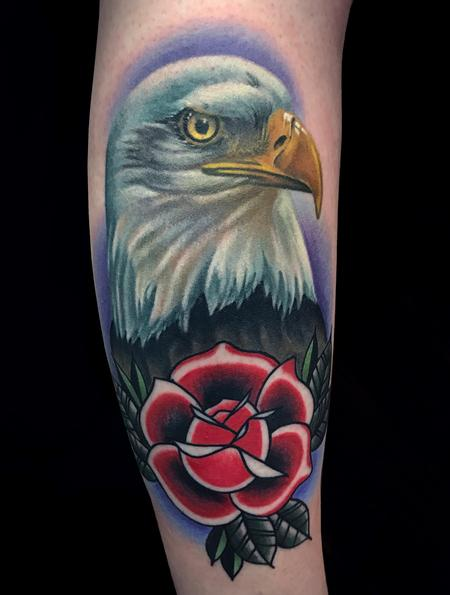 Tattoos - Eagle and Rose - 126608