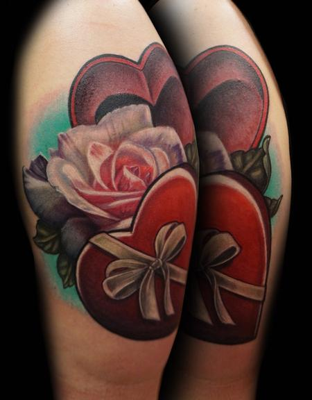 Tattoos - Realistic Rose and Heart Box - 122046