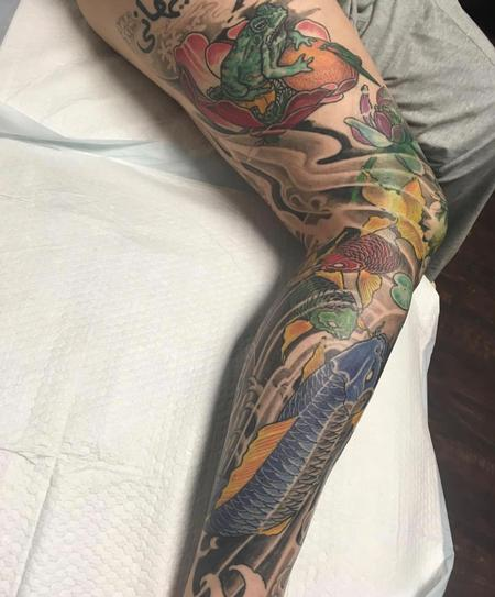 Japanese Leg Sleeve Tattoo Thumbnail