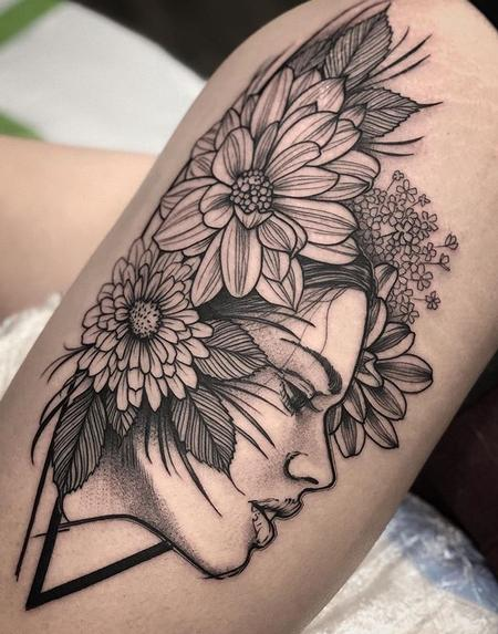 Tattoos - Blackwork Geometric Portrait  - 132562