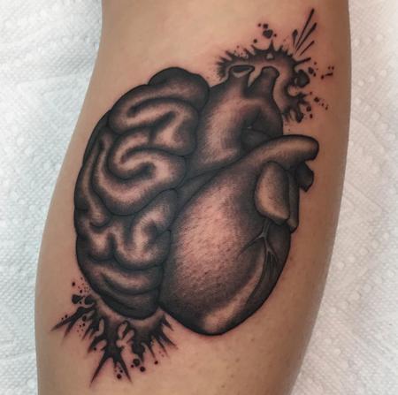 Illustrative Brain & Heart  Tattoo Thumbnail