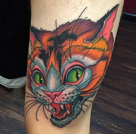 Tattoos - Illustrative Cat Tattoo - 132069