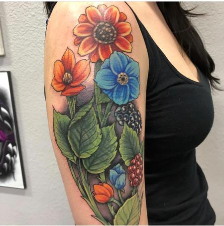 Tattoos - Illustrative Floral Coverup - 132052