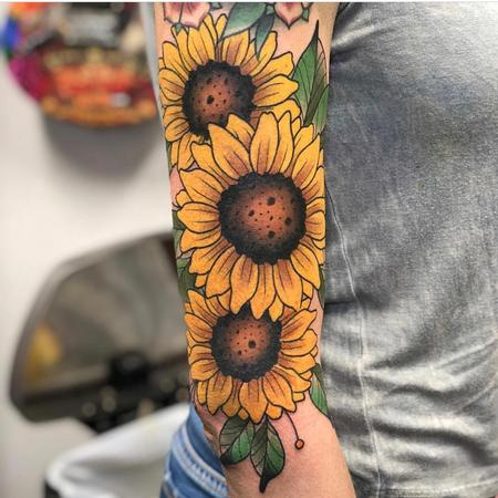 Colorful Sunflowers Tattoo Design by Cody Hennings