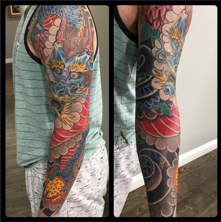 Dragon Sleeve Tattoo Design by  Joshua Daniel