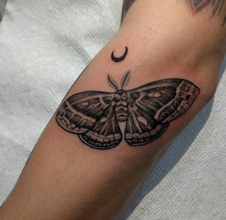 Blackwork Moth Tattoo Thumbnail