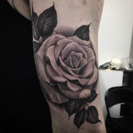 Tattoos - Black & Gray Rose  - 132770