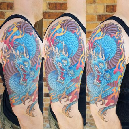 Japanese Dragon Tattoo Design by James Corgill