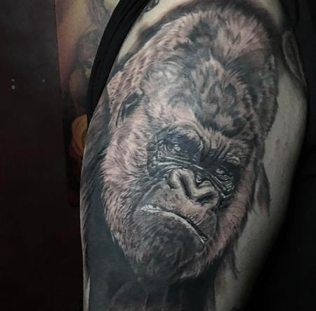 Tattoos - Black & Gray Gorilla  - 133444
