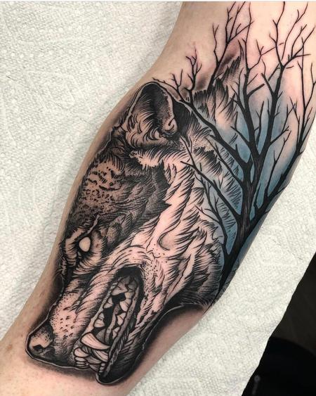 Tattoos - Blackwork Wolf  - 133417