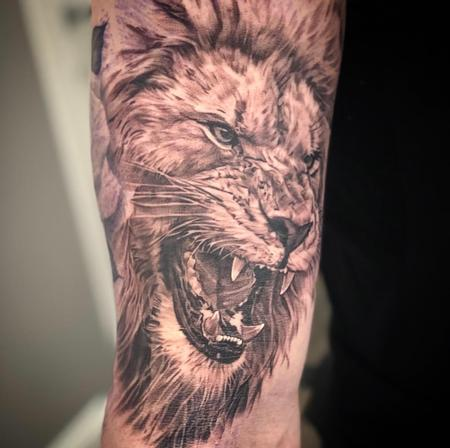 Tattoos - Black & Gray Lion  - 133512