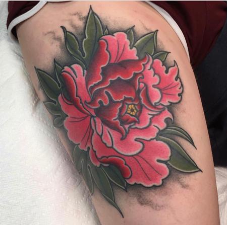Neotraditional Peony  Tattoo Thumbnail