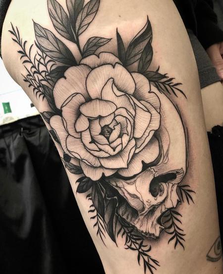 Blackwork Skull Tattoo  Tattoo Thumbnail
