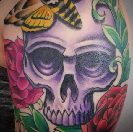 Tattoos - Illustrative Skull & Roses - 133801