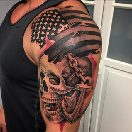 David Mushaney - Trash Polka Style Flag Skull and Anchor Tattoo by David Mushaney