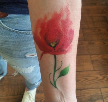 Tattoos - Water Color Poppy - 131284