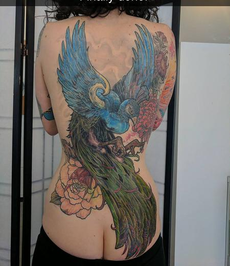 Peacock Backpiece Tattoo Thumbnail