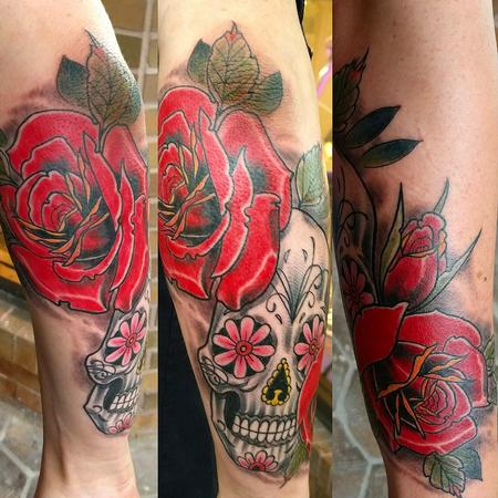 Sugar skull and roses Tattoo Thumbnail