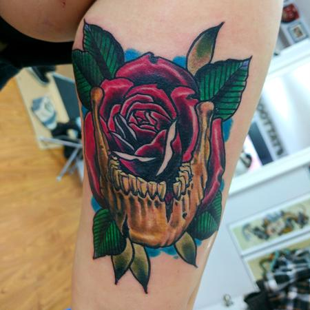 Traditional rose and skull Tattoo Thumbnail