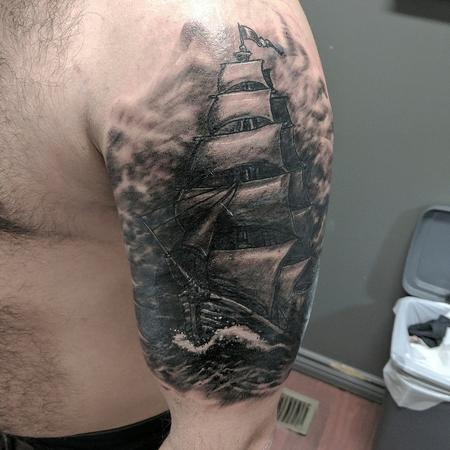 Black and Grey ship Tattoo Thumbnail