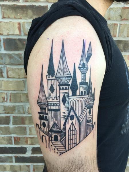 Blackwork castle Tattoo Thumbnail