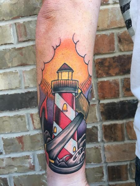 Traditional lighthouse and anchor Tattoo Thumbnail