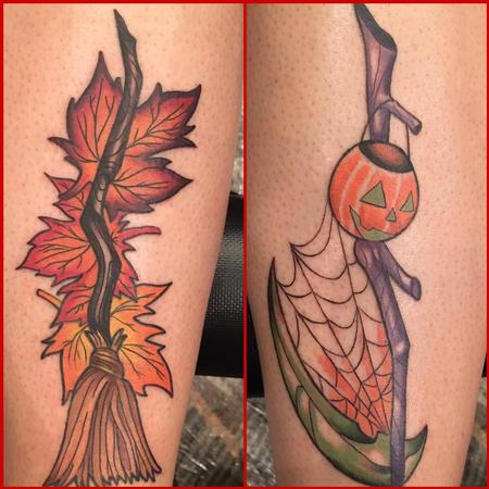 Traditional broom and scythe Tattoo Thumbnail