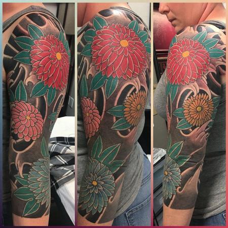 Japanese floral half sleeve Tattoo Thumbnail